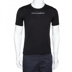 Dolce & Gabbana Black Logo Embroidered Cotton T-Shirt XS