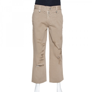 Dolce & Gabbana Light Brown Distressed Cotton Cargo Pants S - used