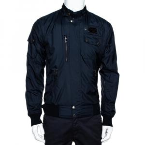 Dolce & Gabbana Dark Blue Zip Front Bomber Jacket S