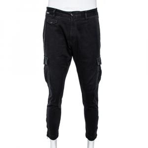 Dolce & Gabbana Black Cotton Cropped Cargo Pants XL