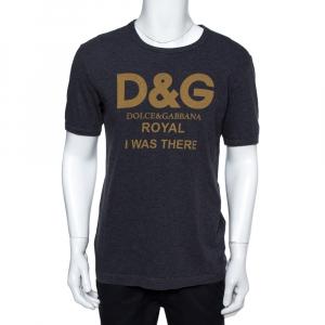 Dolce & Gabbana Grey Cotton Royal Print T-Shirt M