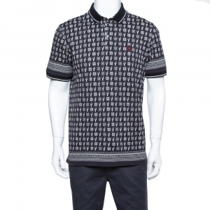 Dolce & Gabbana Charcoal Grey Cactus Print Cotton Polo T-Shirt XL