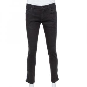 Dolce & Gabbana Black Denim Trim & Logo Embroidery Detail Skinny Jeans M