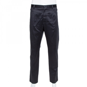 Dolce & Gabbana Navy Blue Coated Cotton Classic Trousers 4XL