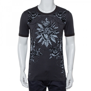 Dolce & Gabbana Grey Sacred Heart Flock Print Cotton T-Shirt XS