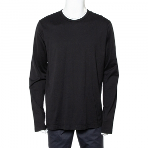 Dolce & Gabbana Black Cotton Long Sleeve Crewneck T-Shirt XXL