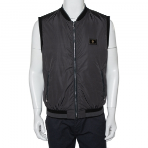 Dolce & Gabbana Dark Grey Synthetic Plaque Gilet XL