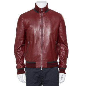 Dolce & Gabbana Burgundy Leather Nappa Bomber Jacket L