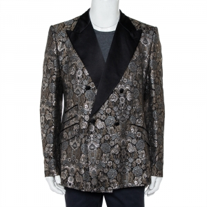 Dolce & Gabbana Metallic Lurex Jacquard Double Breasted Sicilia Blazer 3XL