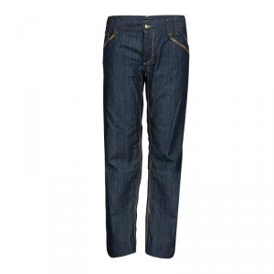 Dolce and Gabbana Blue Contrast Topstitch Detail Dark Wash Denim Jeans L