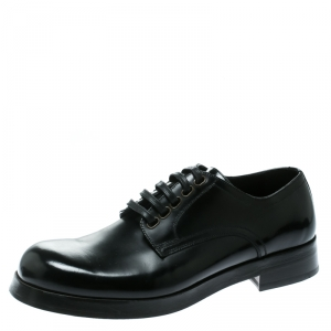 Dolce and Gabbana Black Leather San Pietro Lace Up Derby Size 40