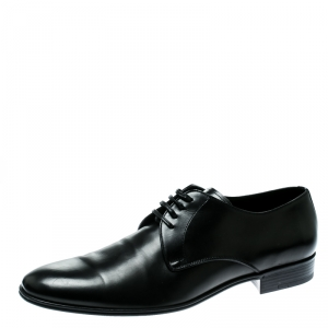 Dolce and Gabbana Black Leather Lace Up Derby Size 45