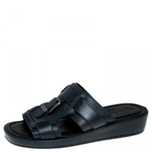Dolce and Gabbana Navy Blue Leather Buckle Platform Slide Sandals Size 40