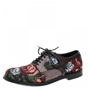 Dolce & Gabbana Multicolor Cross-stitched Rose Suede And Velvet Derby Size 41