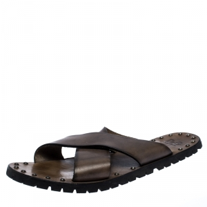 Dolce And Gabbana Grey Leather Studded Cross Strap Slide Sandals Size 45