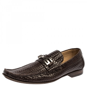 Dolce and Gabbana Brown Woven Leather Slip On Loafers Size 45