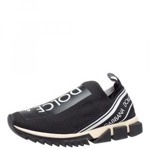 Dolce & Gabbana White/Black Stretch Fabric Logo Sorrento Slip On Sneakers Size 42