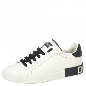 Dolce and Gabbana White/Black Leather Portofino Lace-Up Sneakers Size 42.5