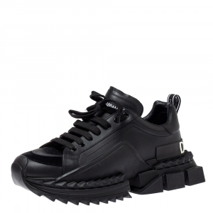 Dolce & Gabbana Black Leather and Suede Super King Sneakers Size 44.5