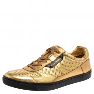 Dolce and Gabbana Metallic Gold Perforated Leather Sneakers Size 44