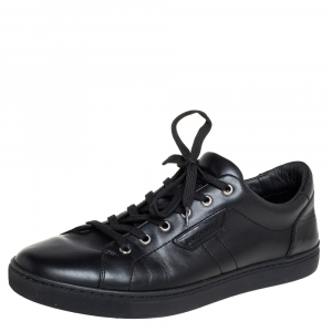 Dolce & Gabbana Black Leather Low Top Sneakers Size 43