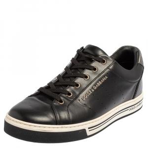 حذاء رياضي دولتشي أند غابانا منخفض من أعلى جلد أسود مقاس 41