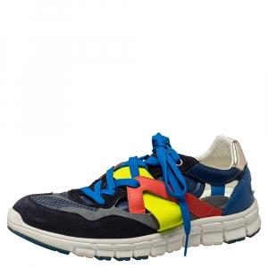 حذاء رياضي دولتشي آند غابانا شبك وجلد متعدد الألوان بعنق منخفض مقاس 41