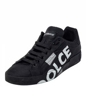 Dolce & Gabbana Black Nylon Portofino Low Top Sneakers Size 43