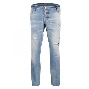 DSquared2 Indigo Light Wash Faded Effect Distressed Denim Slim Jeans 3XL -