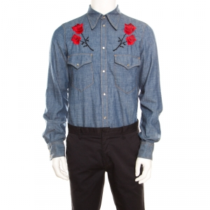 Dsquared2 Indigo Chambray Embroidered Rose Detail Slim Fit Shirt  L