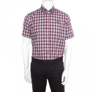 Dsquared2 Multicolor Tartan Plaid Checked Cotton Short Sleeve Shirt L