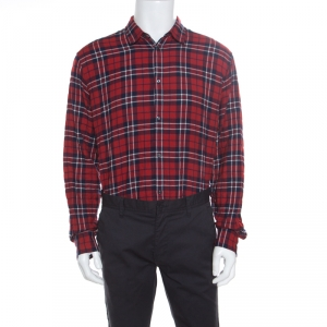 Dsquared2 Red and Blue Plaid Check Cotton Herringbone Weave Relaxed Dan Shirt L