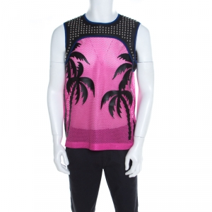 Dsquared2 Pink Mesh Palm Applique Studded Leather Trim Vest XL