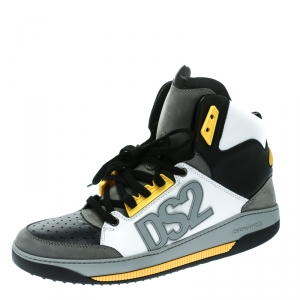 Dsquared2 Tricolor Leather And Suede Logo Appliquè High Top Sneakers Size 43