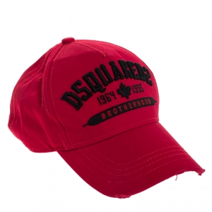 Dsquared2 Red Logo Embroidered Distressed Baseball Cap ( One Size )