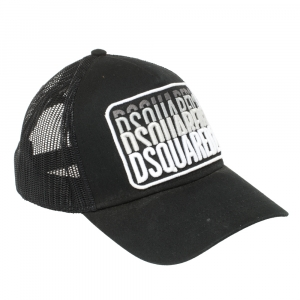 Dsquared2 Black Logo Embroidered Distressed Baseball Cap ( One Size )