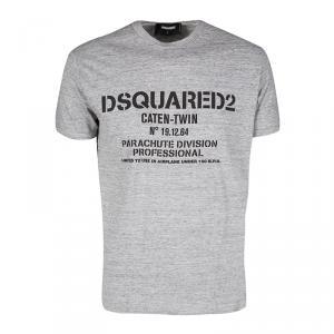 Dsquared2 Grey Slub Jersey Printed Short Sleeve Crew Neck T-Shirt L