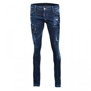 Dsquared2 Indigo Faded Effect Distressed Frayed Hem Skinny Jeans L