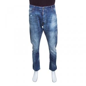 Dsquared2 Indigo Faded Effect Splattered Distressed Denim Jeans XXL