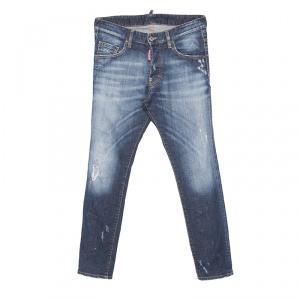 Dsquared2 Indigo Faded Effect Distressed Denim Skinny Skater Jeans S