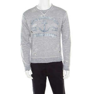 Dsquared2 Grey Cotton Melange Crew Neck Distressed Sweatshirt S