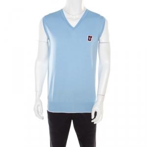 DSquared2 Sky Blue Cotton Argyle Pattern Detail Sweater Vest XL