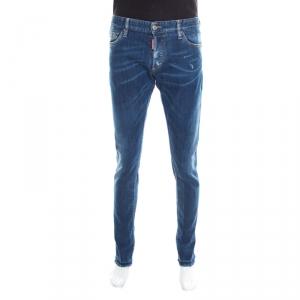 Dsquared2 Indigo Faded Effect Denim Distressed Frayed Hem Jeans 2XL