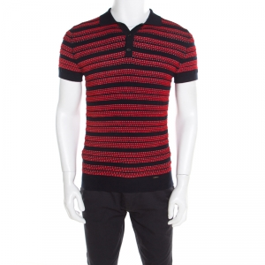 Dsquared2 Bicolor Textured Striped Detail Short Sleeve Polo T-Shirt M - used