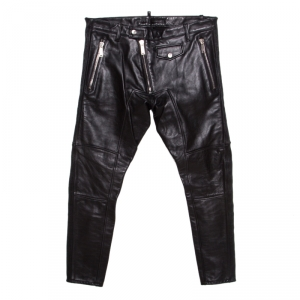 Dsquared2 Black Calf Leather Ribbed Panel Detail Tapered Trousers L