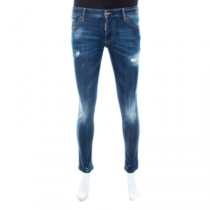 DSquared2 Indigo Faded Effect Denim Distressed Slim Jeans M