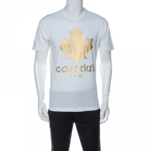 Dsquared2 White Cotton Gold Leaf Canada T-shirt M