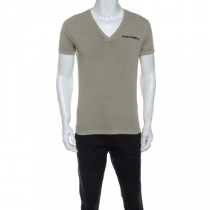 Dsquared2 Beige Cotton Arizona Printed V Neck T Shirt M