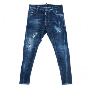 Dsquared2 Blue Distressed Denim Paint Splatter Detail Tidy Biker Jeans XS