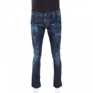 Dsquared2 Blue Distressed Denim Paint Splatter Detail Jeans L